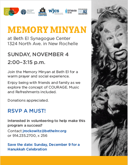 Courage! A Memory Minyan this Sunday