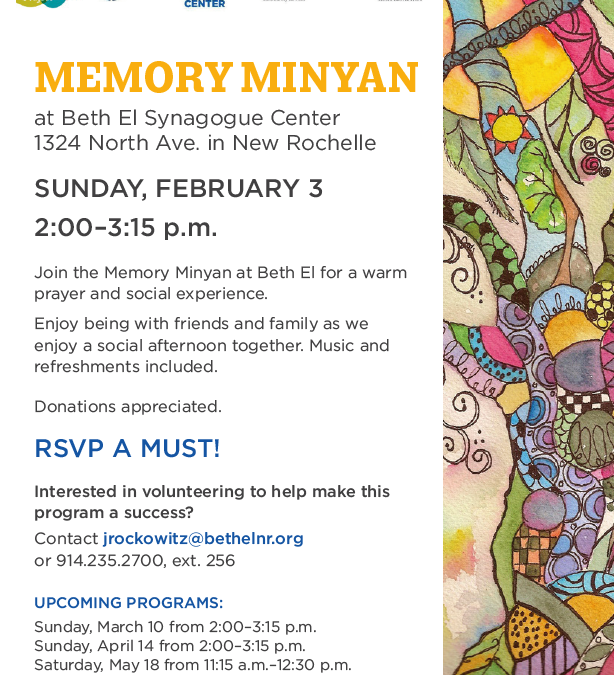 Memory Minyan this Sunday at Beth El Synagogue, NR
